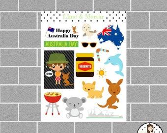 Australia Theme Planner Stickers
