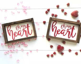 Valentine's Oh My Heart Wood Sign. Pink or Red Valentine sign. Valentine's decor. Valentine gift. Farmhouse style. Farmhouse Decor. Gallery
