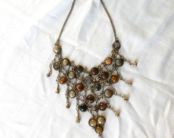 SALE Vintage Bib Necklace from India - Large Agate Necklace - East Indian Tribal Necklace -  Tribal Jewelry India - Vintage Indian Necklace