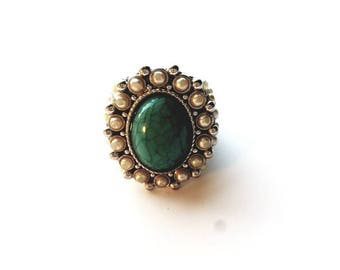 Vintage Silver Big and Bold Turquoise with Pearls Ring, Size 8