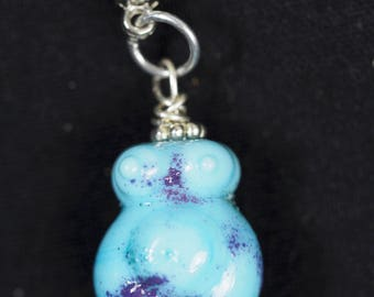 Tiny Blue Glass Goddess Necklace - Pagan, Wicca, Witchcraft, Lampworked Glass