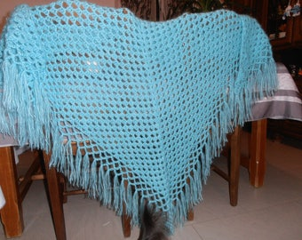 Turquoise mohair shawl. Gift idea