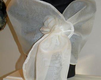 Silk Organza PullThru Wrap/Shawl/Shrug/Hands Free/Clutch/Long Island Bridal/New York Wedding/Navy Blue/Black/Ivory/White/Burgundy/Red/Silver