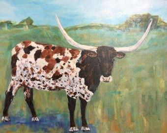 """Original Acrylic Painting """"The Longhorn"""" 16 x 20 Gallery Canvas ***Free Shipping!***"""