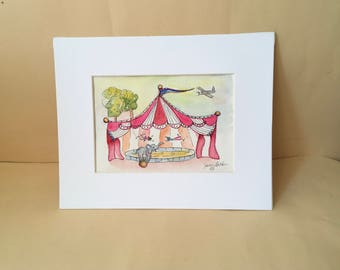 Watercolor circus painting, Elephant,Trapeze,plane,striped tent,flag, Children's art,nursery,wall art, original art