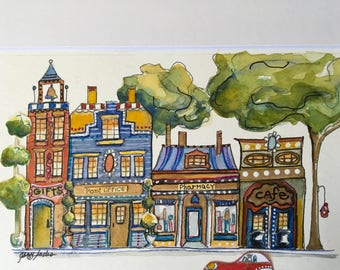 Watercolor, original, signed, one of a kind, streets,shops,red carTrees, pharmacy,cafe,post office,gifts