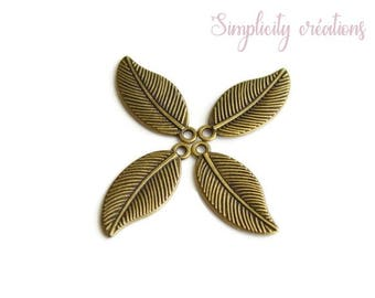 4 28 mm x 12 mm antique bronze leaf charms