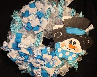 Snowman Christmas Wreath, Holiday Door Decor, Snowman Holiday Wreath, Winter Door Decor
