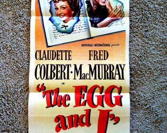1947 Original Movie Poster The Egg and I Rare Daybill Claudette Colbert Fred MacMurray Ma & Pa Kettle Betty MacDonald Hollywood Memorabilia