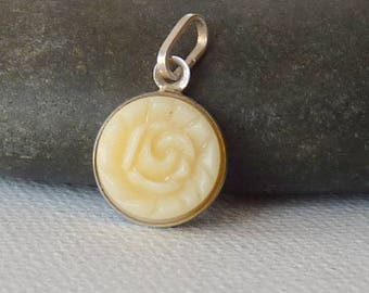 Sterling Silver Rose Pendant Acrylic Round Charm, Small  Vintage  80's Jewelry Sweet Flower 925 Plastic Charm, Petite, Minimalist Jewelry