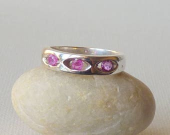 Vintage Sterling Silver Pink Crystal Ring, Simple Ring, Pink  Stone Band Size 6 Delicate Girls Ring, Girls Jewelry Lovely Dark Pink Ring