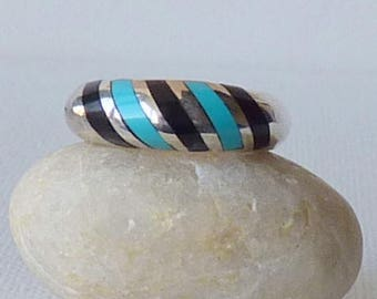 Vintage Sterling Silver Turquoise Band Ring Size 6.5 Wide Inlaid Turquoise Ring, Unisex Turquoise Jewelry, Zuni Sterling, Navajo 925 Jewelry