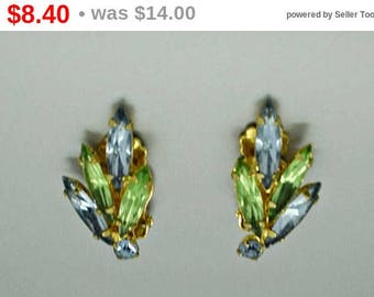 Vintage Green and Blue Rhinestone Earrings