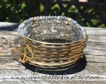 Crystal Silver Beaded Bracelet with gold plated connectors - Pulsera Semanario  color cristal plateado con conectores de laminado de oro