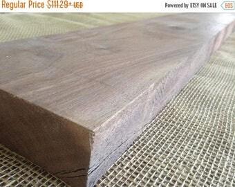 "25% off SALE 46"" UNFINISHED Walnut Wood Slab Straight Edge Floating Shelf DIY Project Wood thick hardwood shelf Rustic wood shelves open she"