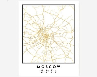Moscow Map Coordinates Print - Russia City Street Map Art Poster, Gold Moscow Map Print, Moscow Russia Coordinates Gold Poster Map Print Art