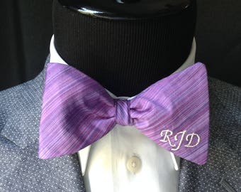 Purple Waterfall Striped Hand Woven 100%  Dupioni Silk Monogrammed Adult Medium Butterfly Men's Bow Tie