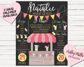 Pink Lemonade First Birthday Chalkboard - Custom Chalkboard Design- 1st Birthday Sign - Second Birthday - Lemonade - Stats Sign - Pink bday