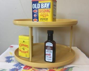 rubbermaid lazy susan retro 1970s era gold 2 tier kitchen lazy susan kitchen cabinet storage