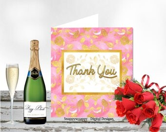 Thank You Card,  Printable Cards, Greeting Cards,  Thank  You  Card Topper.  Print Yourself.  CU4CU