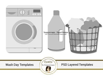 Washing Day  Photoshop Layered Templates, PSD Layered Templates