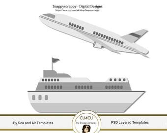 Transport Photoshop Layered Templates - By Ship and Plane