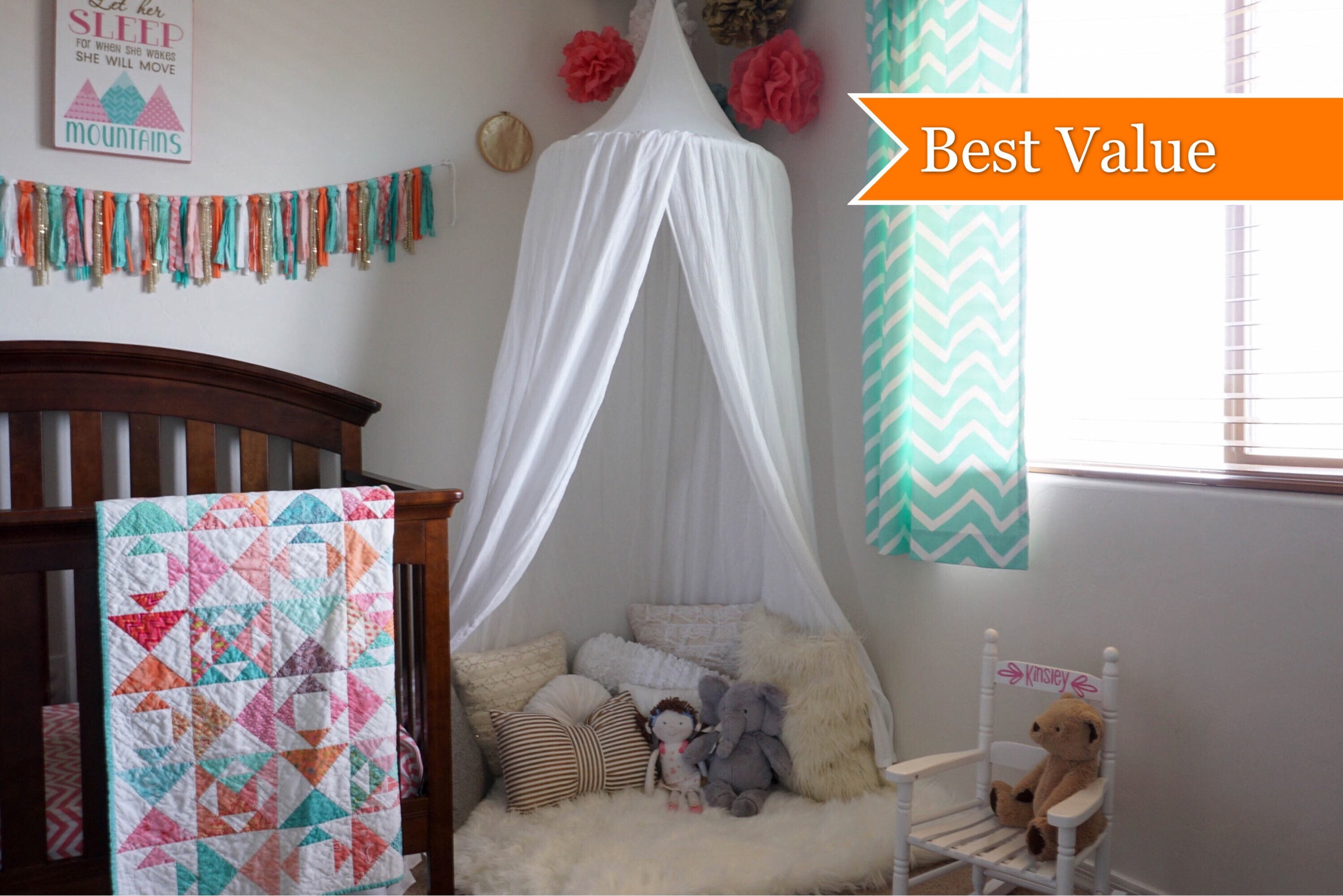 Play canopy in white cotton/ hanging tent/ reading nook canopy/hanging canopy & Play canopy in white cotton/ hanging tent/ reading nook canopy ...