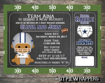 Printable Dallas Cowboys Football Baby Shower Invitations Boy And Girl  Cheerleader Personalized Attached Raffle Ticket
