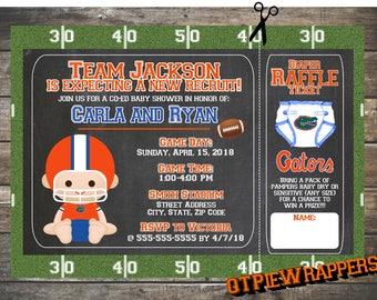 Printable College Florida Gators Football Baby Shower Invitations Boy Personalized attached Raffle Ticket