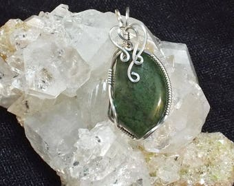 Green South African Jade (Buddstone) Sterling Silver Wire-Wrapped Pendant with chain included - item #1239