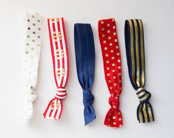 Red White and Blue w Gold 5 Hair Ties, Wristbands Bracelets, No Crease Hair Band, Girlfriend Gift, Ponytail Holder, Bulk Hair Ties, Birthday
