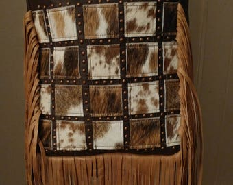 Cowhide Patchwork Crossbody Bag