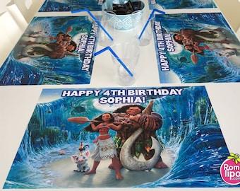 Moana party, Set of 12 11 x 17 place mats, Moana decor,paper placemats, table decor, place mats, Moana, personalized, birthday