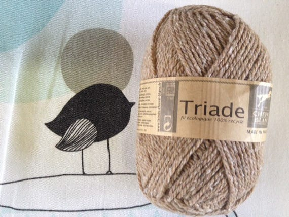 WOOL triad taupe - white horse