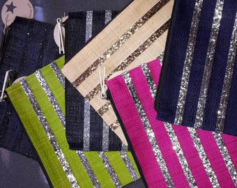 Pockets in raffia, black, pink, bleumarine, beige, Brown and green