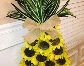 Pineapple Wreath | Pineapple Sunflower Wreath | Sunflower Wreath | Welcome Wreath | Yellow Wreath | Summer Wreath | Fall Wreath