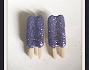 Purple Glitter Popsicle Stud Earrings ON CLEARANCE