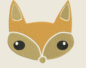 Fox embroidery design in 2 sizes for 4x4 and 5x7, Fox Face embroidery