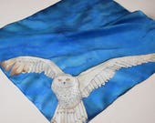 RESERVED for JOSIE Snowy Owl scarf, blue owl scarf, blue white scarf
