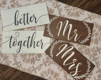 Mr and Mrs Signs   better together   Wedding Ceremony Signs   Custom Color Options Available   Ribbon Hanger Available