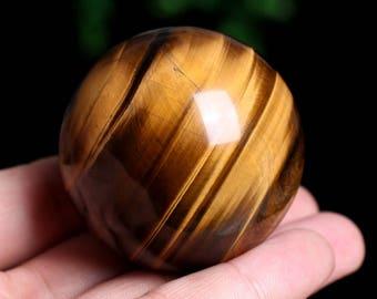 Natural Tiger's Eye Quartz Crystal Sphere Ball Great Shine Healing J956