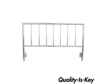 Chrome Metal Mid Century Modern Style Bed Headboard Queen Size Slatted Modernist