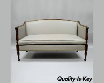 Old Hickory Tannery Gray Leather Sheraton Federal Loveseat Settee Sofa Mahogany