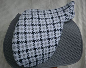 Dressage or Jump/AP saddle cover-- White/Black/Grey Houndstooth