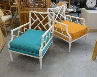 Faux Bamboo Chippendale Lounge Chairs