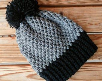 Winter Hat, Black/Gray, kid