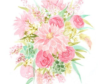Spring Floral Art Print, Pink Watercolor Flower Bouquet Print
