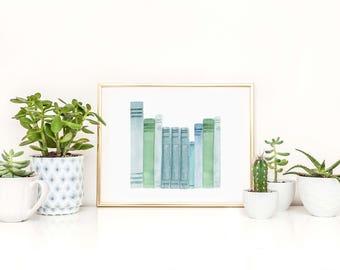 Blue and Green Books  Art Print