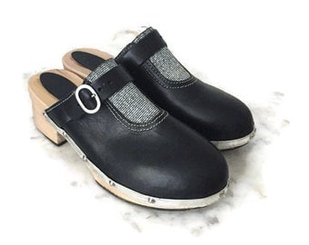 Black Clog Sandals glitter, black wooden clogs, deadstock black clogs, 70s vintage clogs, glittered clogs for women size 37.5 USA 6.5 UK 4.5