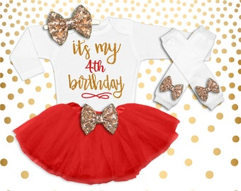 Personalized 4th Birthday Outfit Red and Gold 4th Birthday Tutu Set 4th Birthday Outfit Birthday Tutu Set 4th Birthday Shirt